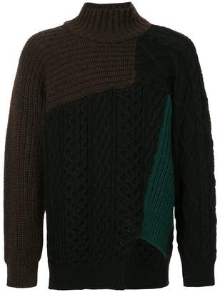 Kolor colour-block roll-neck sweater