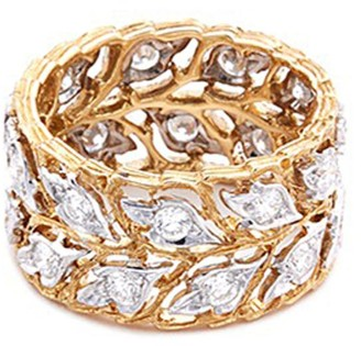 Buccellati 'Eternelle' diamond 18k white and yellow gold leaf ring
