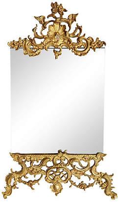 One Kings Lane Vintage French Easel Framed Brass Mirror - Fleur de Lex Antiques