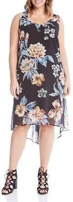 Karen Kane Plus Floral-Print High/Low Dress