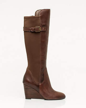 Le Château Leather Knee-High Wedge Boot