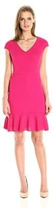 Julia Jordan Women's Fitted Sleeveless V Neck Dress with Flare at Bottom