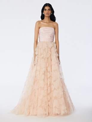 Oscar de la Renta Leaf Embroidered Tulle Gown