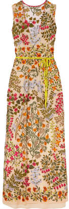 RED Valentino Embroidered Tulle Maxi Dress - Beige