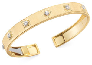 Buccellati Classica 18k Gold Cuff Bracelet with Diamonds, Small