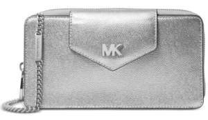 Michael Kors Michael Metallic Pebble Leather Crossbody Clutch