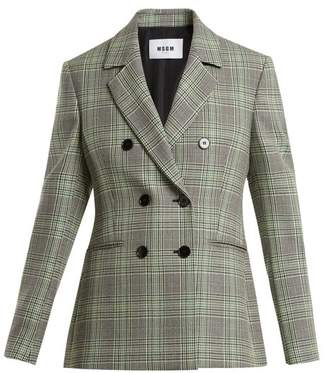 Msgm - Checked Double Breasted Wool Blazer - Womens - Green Multi