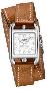Hermes Watches Cape Cod PM Stainless Steel& Leather Double Tour Strap Watch