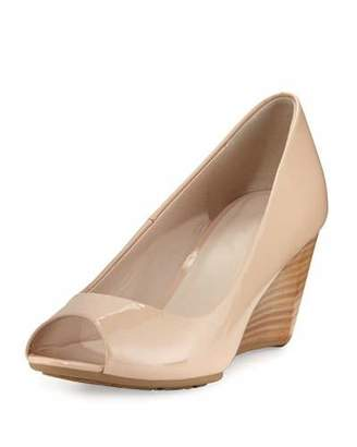 Cole Haan Sadie Grand Patent Leather Wedge Pump, Nude $180 thestylecure.com