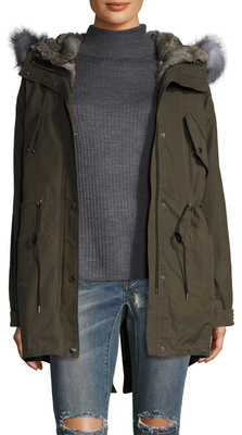 Miranda Fur Trimmed High Low Parka $1,195 thestylecure.com