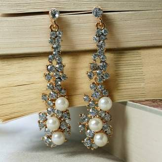 Crystal Pearl Rabal Drop Earrings