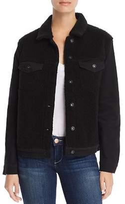 Mavi Jeans Katy Sherpa-Paneled Denim Jacket in Black