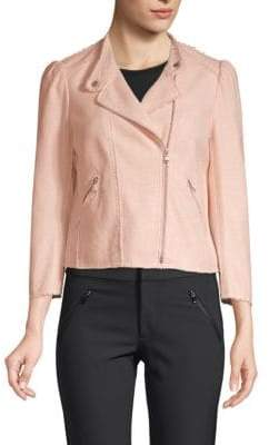 Rebecca Taylor Long-Sleeve Frayed Jacket