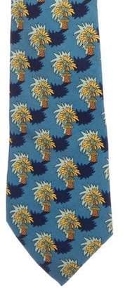 Hermes Palm Tree Print Silk Tie
