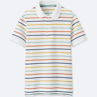 Uniqlo Boy's Dry Pique Striped Short-sleeve Polo Shirt