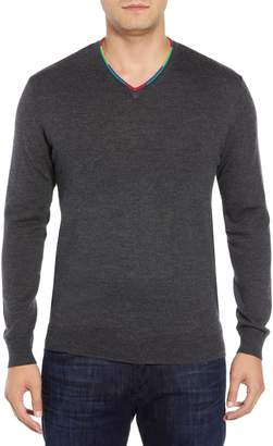 Bugatchi V-Neck Merino Wool Sweater