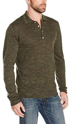 7 For All Mankind Men's Linen-Wool Long Sleeve Polo Sweater