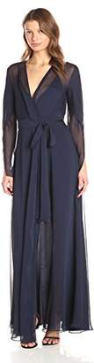 Halston Women's Long Sleeve Deep V Neck Flowy Gown with Sash, 4