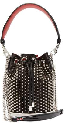 Christian Louboutin Marie Jane Satin And Leather Bucket Bag - Womens - Black Silver