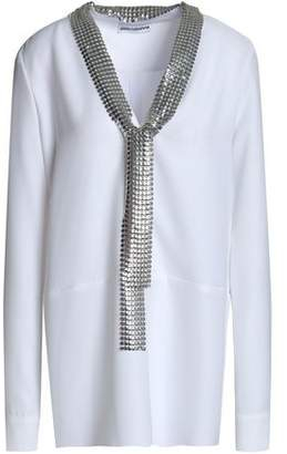 Paco Rabanne Chainmail-Trimmed Cady Blouse