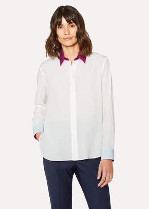 Paul Smith Women's Cream Silk Shirt With Contrasts