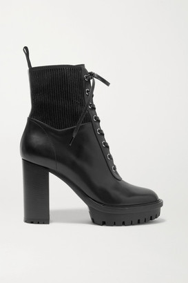 Gianvito Rossi 90 Lace-up Leather Ankle Boots - Black