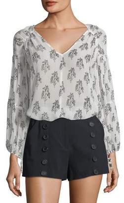 A.L.C. Chantal V-Neck Long-Sleeve Silk Top