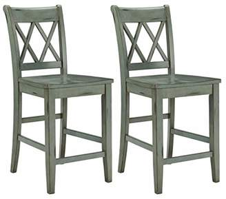 Signature Design by Ashley Ashley Furniture Signature Design - Mestler Bar Stool - Counter Height - Vintage Casual Style - Set of 2 - Blue/Green
