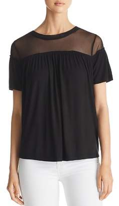 Alison Andrews Shirred Mesh-Yoke Top