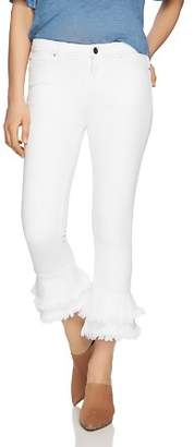 1 STATE 1.STATE Frayed Ruffle Ankle Jeans in Ultra White