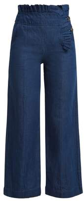 Teija - Pleated Trim High Waisted Denim Trousers - Womens - Blue