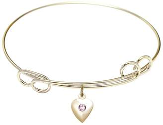 Swarovski Bonyak Jewelry 7 1/2 inch Round Double Loop Bangle Bracelet w/ Heart medal charm w/ Light Purple Crystal
