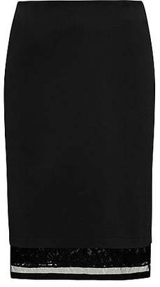 HUGO BOSS Bonded jersey knee-length skirt with extended lace and mesh hem