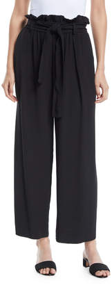 Forte Forte Belted Cropped Wide-Leg Crepe Pants