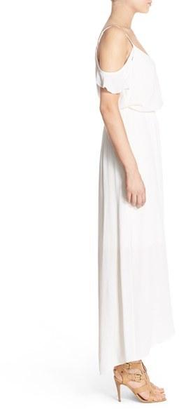 Women's Fraiche By J Cold Shoulder Wrap Front Maxi Dress 4