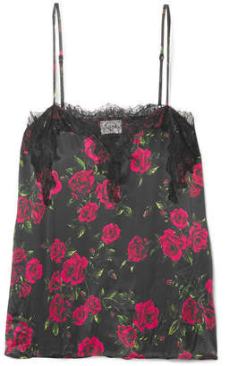 CAMI NYC The Sweetheart Lace-trimmed Floral-print Silk-charmeuse Camisole - Red