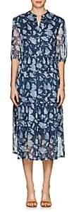 Raquel Allegra Women's Floral Silk Tiered Midi-Dress - Navy