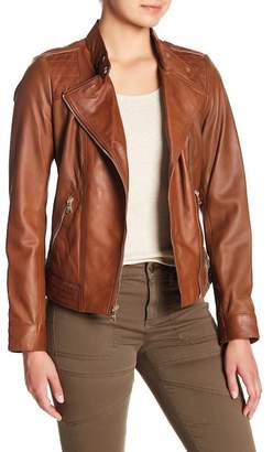 GUESS Band Collar Leather Jacket