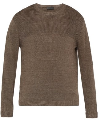 Iris von Arnim Felix Contrast Stitch Linen Sweater - Mens - Brown