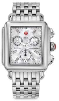 Michele Deco 18 Diamond, Mother-Of-Pearl& Stainless Steel Chronograph Bracelet Watch