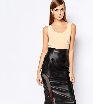 The 8th Sign PU Top Bodycon Dress With Mesh Insert Skirt