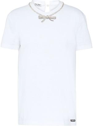 Miu Miu jersey T-shirt with bow
