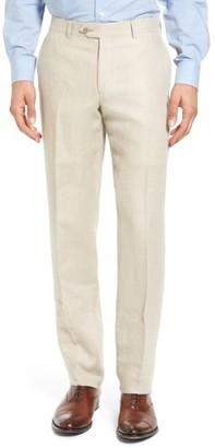Men's Nordstrom Men's Shop Flat Front Solid Linen Trousers $149 thestylecure.com