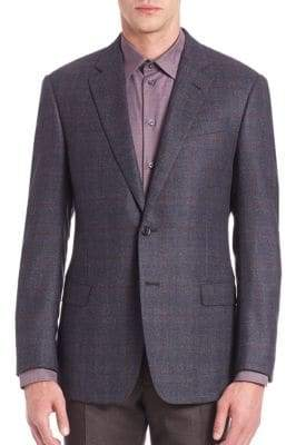 Armani Collezioni Checkered Wool Jacket