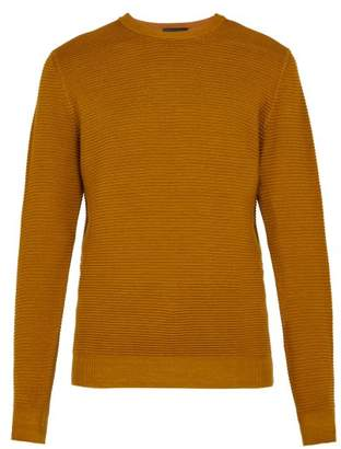 Altea Crew Neck Wafer Knit Wool Sweater - Mens - Mustard