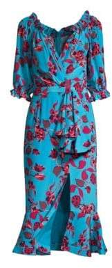 Saloni Women's Olivia Floral Midi Wrap Dress - Turquiose - Size 0