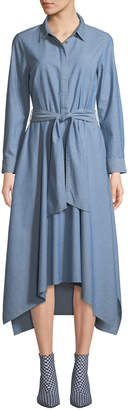 Lafayette 148 New York Long-Sleeve Button-Front Belted Chambray Shirtdress