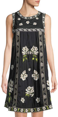 Neiman Marcus Sleeveless Floral-Embroidered Cotton Peasant Dress