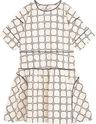 Burberry Cici Floral Plaid Short-Sleeve Dress Size 3-14