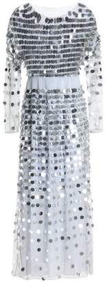 ALEXACHUNG Alexa Chung Sequin-Embellished Linen-Point D'esprit Midi Dress